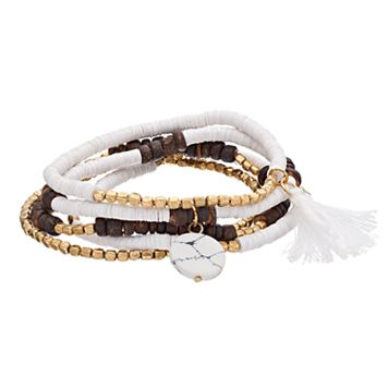 Brown Simulated Heishi Bead Tassel Stretch Bracelet Set