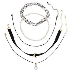 Mudd® Moon, Briolette & Tattoo Choker Necklace Set