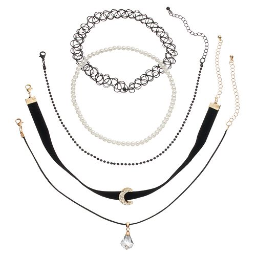 Mudd® Moon, Briolette & Tattoo Choker Necklace Set