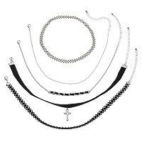 Mudd® Faux Suede Cross & Chain Choker Necklace Set