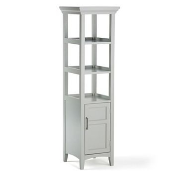 Simpli Home Avington Gray Bath Storage Tower Cabinet