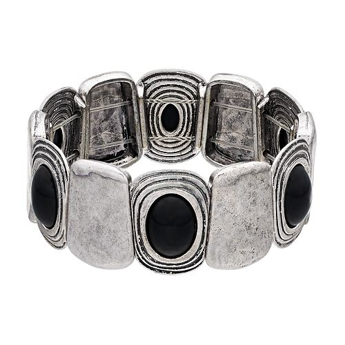 Black Cabochon Antiqued Stretch Bracelet