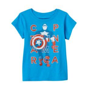"Girls 4-6x Marvel ""Captain America"" Turquoise Tee"