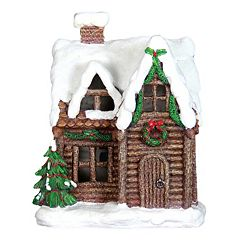Exhart 11.5' LED Log Cabin Outdoor Decor