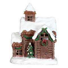 Exhart 13.5' LED Log Cabin Outdoor Decor