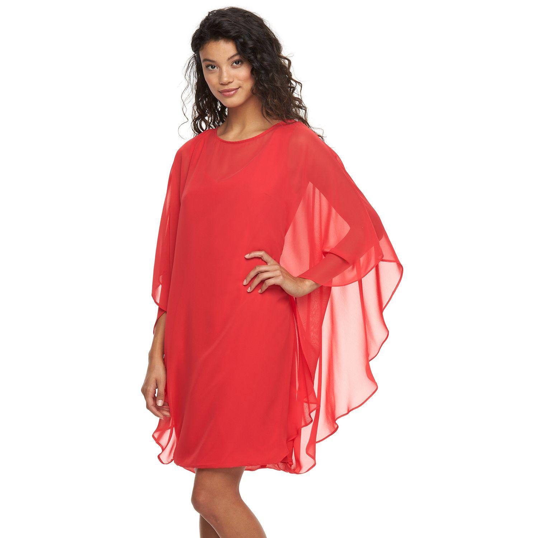 Womens Sharagano Chiffon Poncho Dress