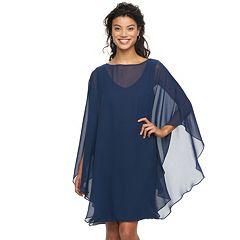Women's Sharagano Chiffon Poncho Dress