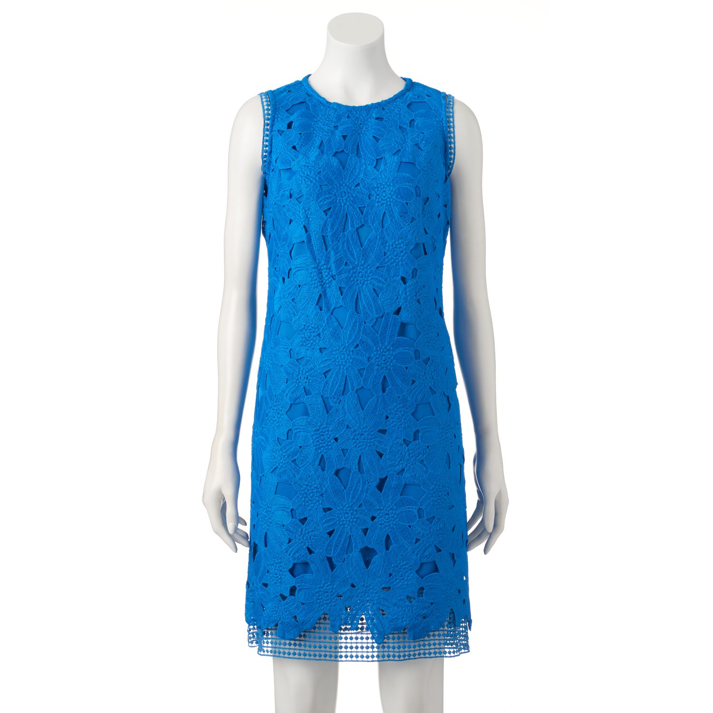Womens Donna Ricco Floral Lace Sheath Dress