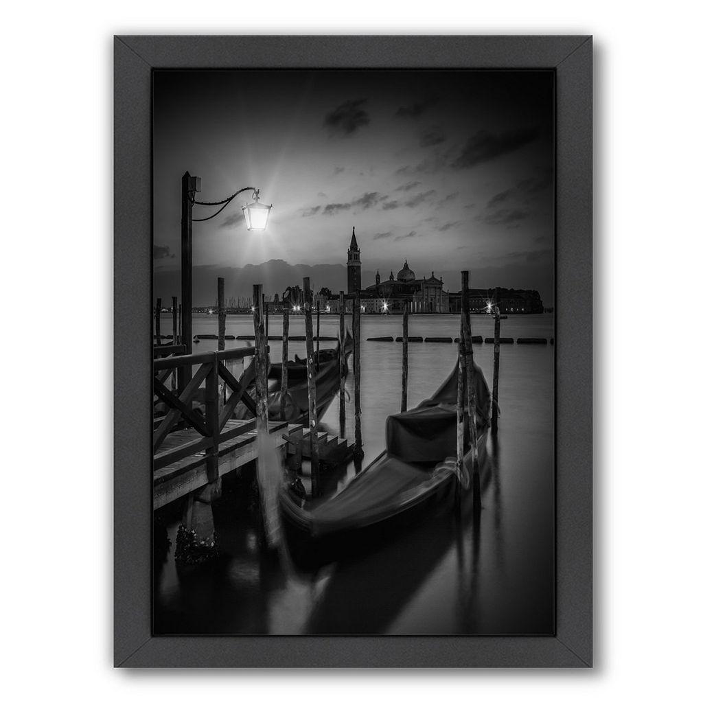Americanflat Venice Gondolas At Sunrise Monochrome Framed Wall Art
