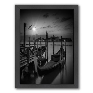 Americanflat Venice Gondolas At Sunrise Monochrome Framed Wall Art