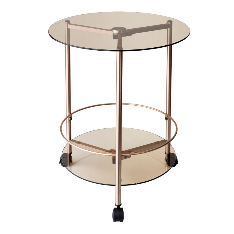 Adesso Gibson Rolling End Table, Red\/Coppr (Rust\/Coppr)