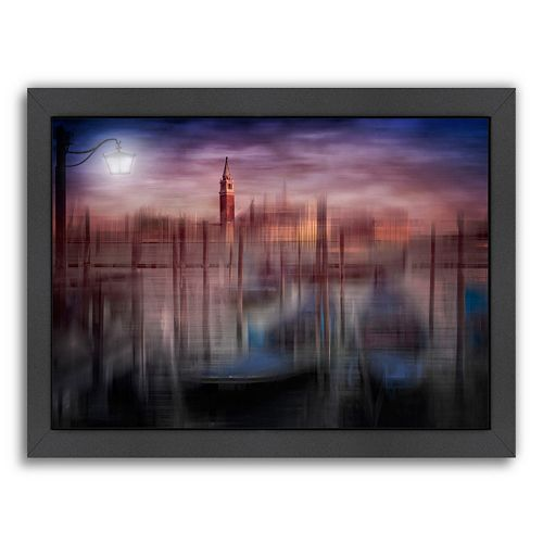 Americanflat City Art Venice Gondolas At Sunset Framed Wall Art