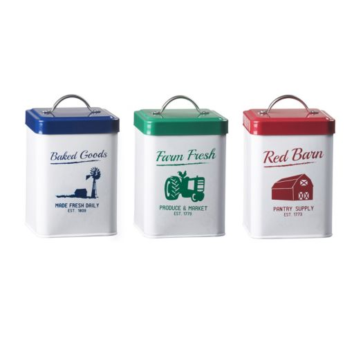 Global Amici Farmville 3-pc. Metal Canister Set