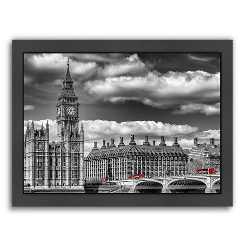 Americanflat London Big Ben & Red Bus Framed Wall Art
