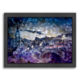 Americanflat City Art London Westminster Bridge At Sunset Framed Wall Art
