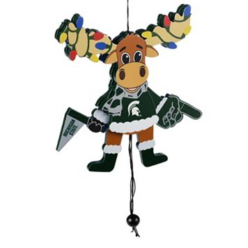 Forever Collectibles Michigan State Spartans Wooden Moose Christmas Ornament