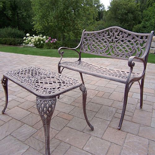 Mississippi Cast Aluminum Outdoor Settee Bench 2-piece Set