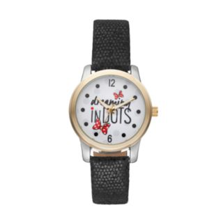 """Disney's Minnie Mouse """"Dreaming in Dots"""" Women's Leather Watch"""