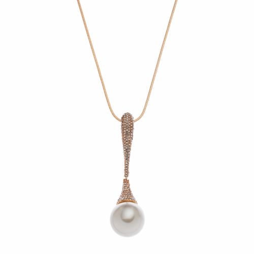 Croft & Barrow® Long Pave Simulated Pearl Pendant Necklace