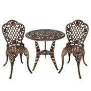 Tea Rose Cast Aluminum Outdoor Bistro 3 pc Set