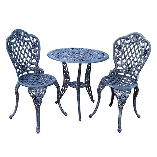 Tea Rose Cast Aluminum Outdoor Bistro 3-piece Set