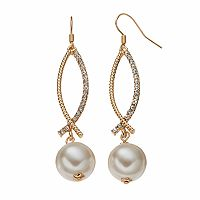 Nickel Free Simulated Pearl Crisscross Drop Earrings