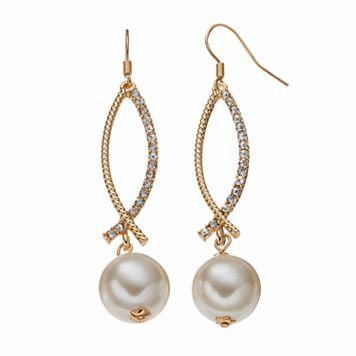 Nickel Free Simulated Pearl Crisscross Drop Earrings