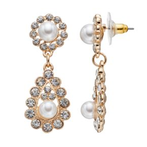 Simulated Pearl Halo Drop Earrings