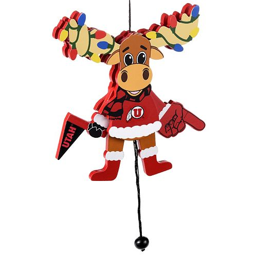 Forever Collectibles Utah Utes Wooden Moose Christmas Ornament