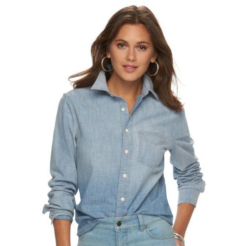 Petite Chaps Button-Down Chambray Shirt