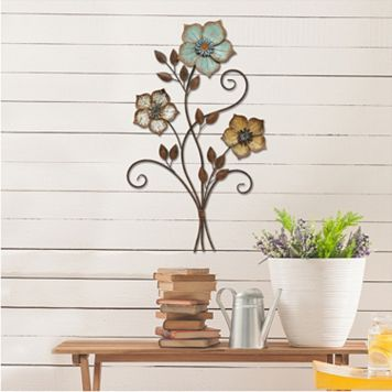 Stratton Home Decor Color Flower Bunch Metal Wall Decor