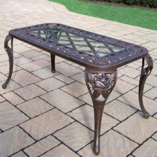 Tea Rose Cast Aluminum Outdoor Coffee Table