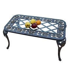 Tea Rose Cast Aluminum Outdoor Coffee Table