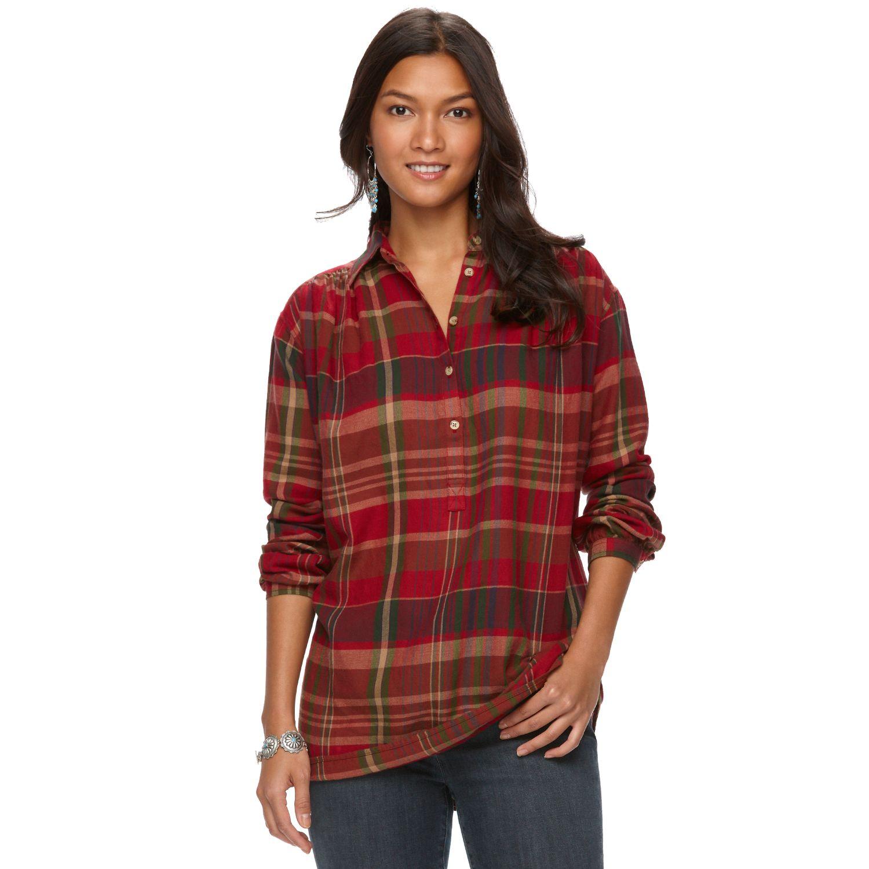 Womens Chaps Plaid Twill Shirt