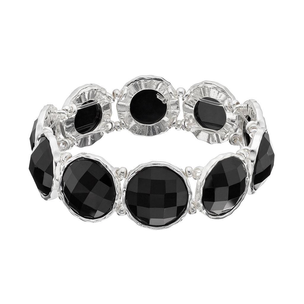 Black Round Stone Stretch Bracelet