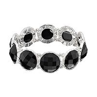 Black Round Stone Stretch Bracelet