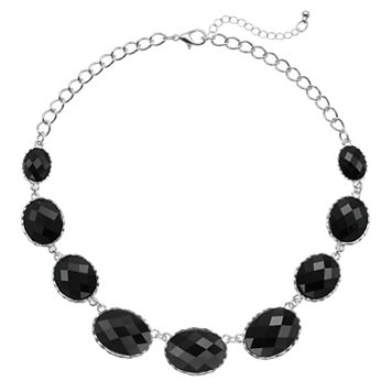 Graduated Black Oval Stone Necklace