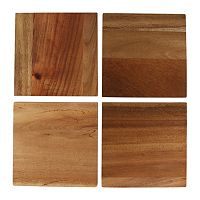 Food Network 4 pc Acacia Wood Coasters Set