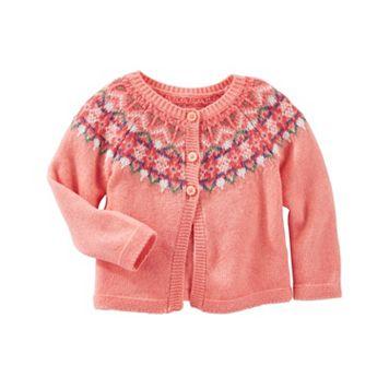 Baby Girl OshKosh B'gosh® Fairisle Wool-Blend Cardigan