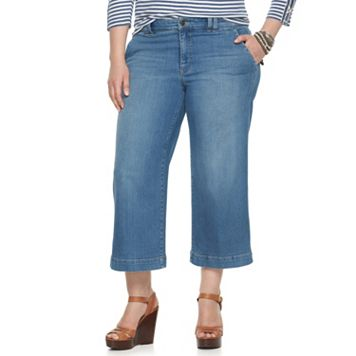 Plus Size Chaps Wide-Leg Crop Jeans
