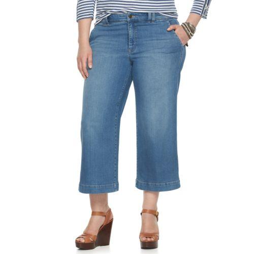Plus Size Chaps Wide-Leg Crop Jeans