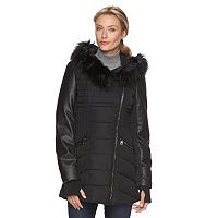 Women's Triple Star Hooded Mixed-Media Puffer Parka