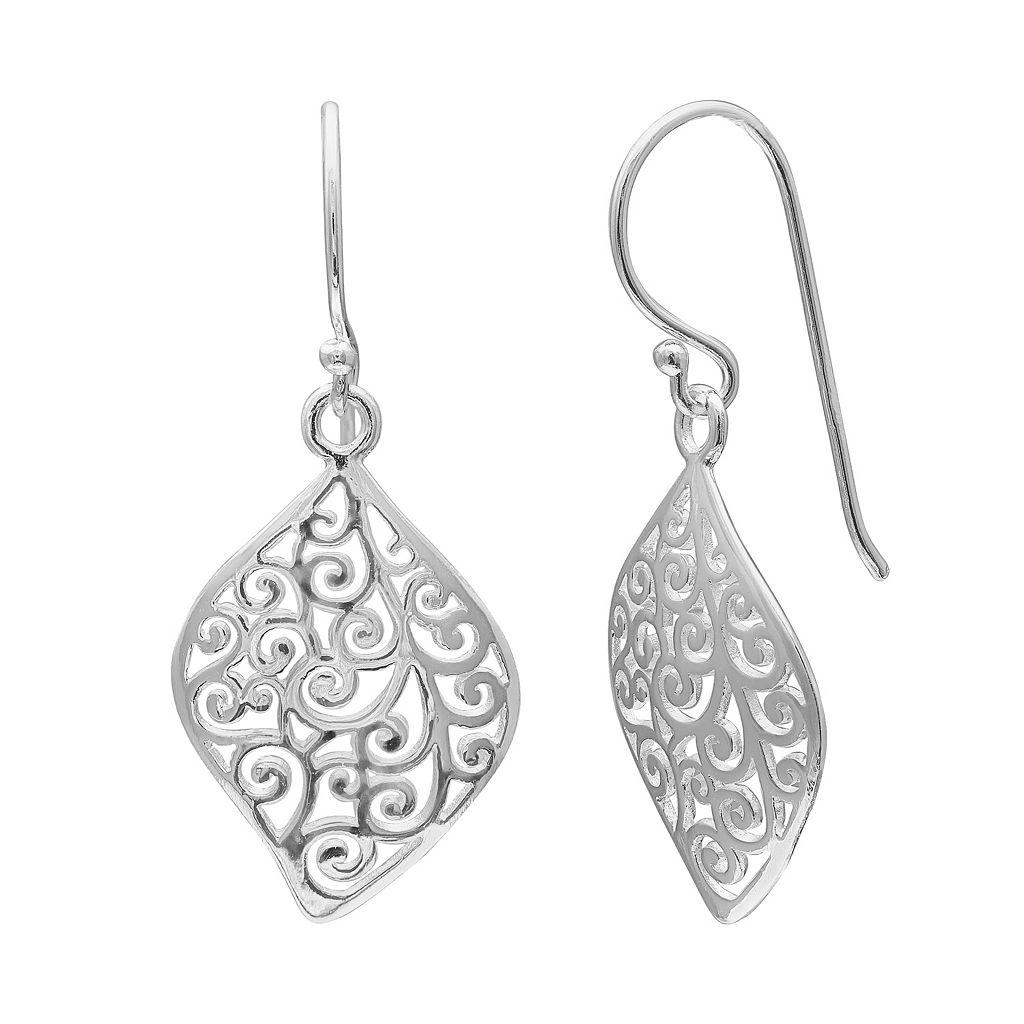 PRIMROSE Sterling Silver Filigree Leaf Drop Earrings