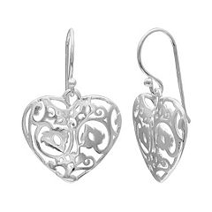 PRIMROSE Sterling Silver Filigree Heart Drop Earrings