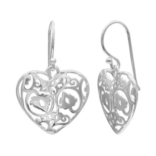 PRIMROSE Sterling Silver Filigree Heart Drop Earrings