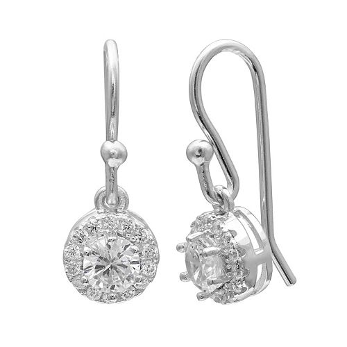 PRIMROSE Sterling Silver Cubic Zirconia Halo Drop Earrings