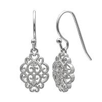 PRIMROSE Sterling Silver Cubic Zirconia Filigree Drop Earrings