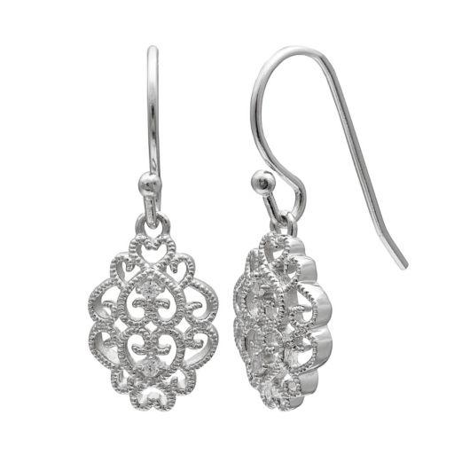 PRIMROSE Sterling Silver Cubic Zirconia Filigree Drop Earrings