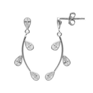 PRIMROSE Sterling Silver Cubic Zirconia Leaf Drop Earrings