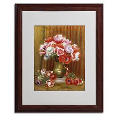 Trademark Fine Art 'Anemones 1909' Wood Finish Matted Framed Wall Art by Pierre Renoir